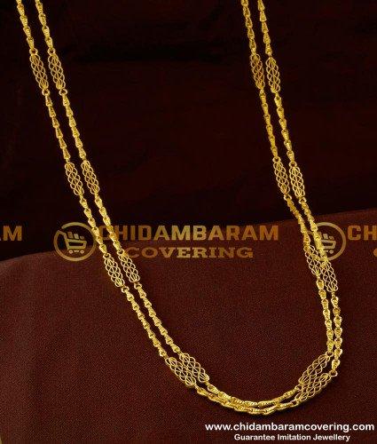 CHN042 - Rettai Vadam Link Chain Glass Cutting Chain Design Two Line Gobi Chain Shop Online