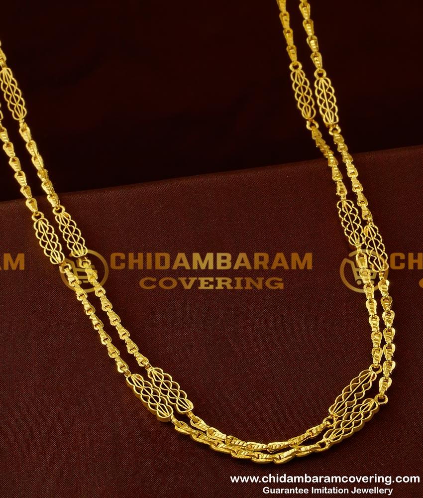CHN042-LG - 30 inches Long Rettai Vadam Glass Cutting Chain Design Two Line Gobi Chain Online
