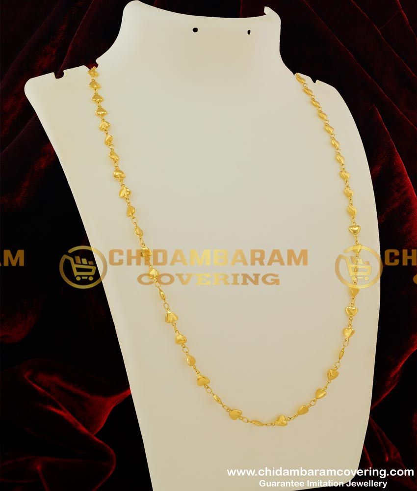 CHN043 - Heart Shape Designer Chain Gold Plated South Indian Jewelry Online