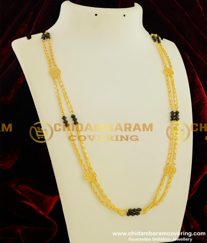 CHN044-LG - Rettai Vadam Black Crystal 30 Inches Chain Gold Model Covering Chains Buy Online