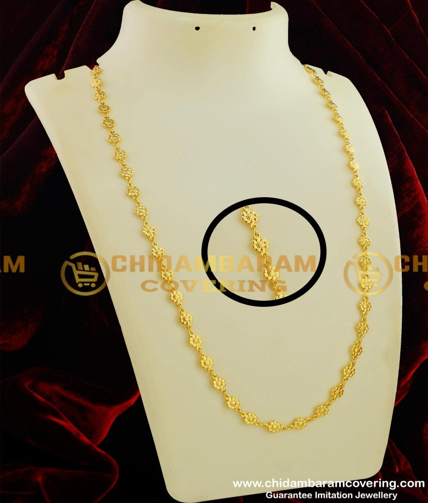 CHN060 - New Pattern  Flower Design Chain Gold Plated South Indian Jewelry Online