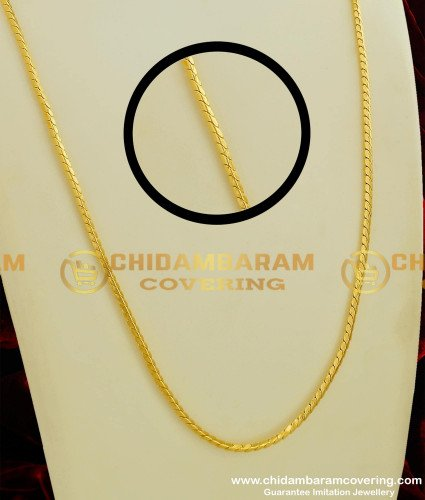 CHN065 - Daily Wear Shiny Thin Gold Chain Look Chain for Men and Women