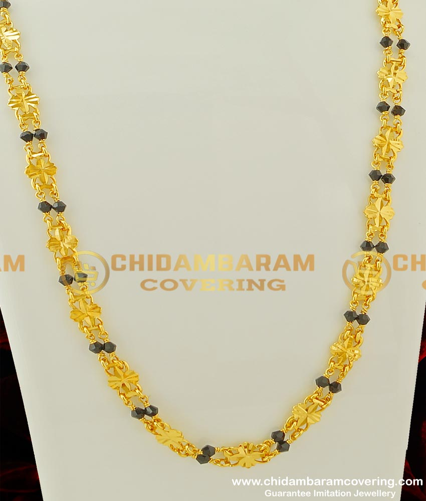 CHN068 - New Rettai Vadam Black Crystal Chain with Flower Design Connector Two Line Chain Online