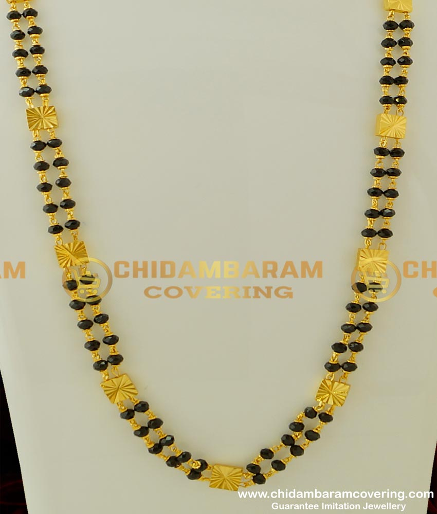 CHN069-LG - 30 Inches Long Designer Double Line Gold Black Crystal Chain Black Beads Two Line Chain Online