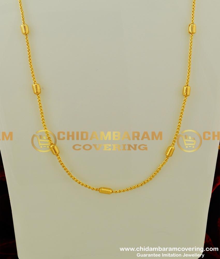 CHN071 - Trendy Daily Wear Light Weight Cylinder Shape Designer Gold Chain Design Online