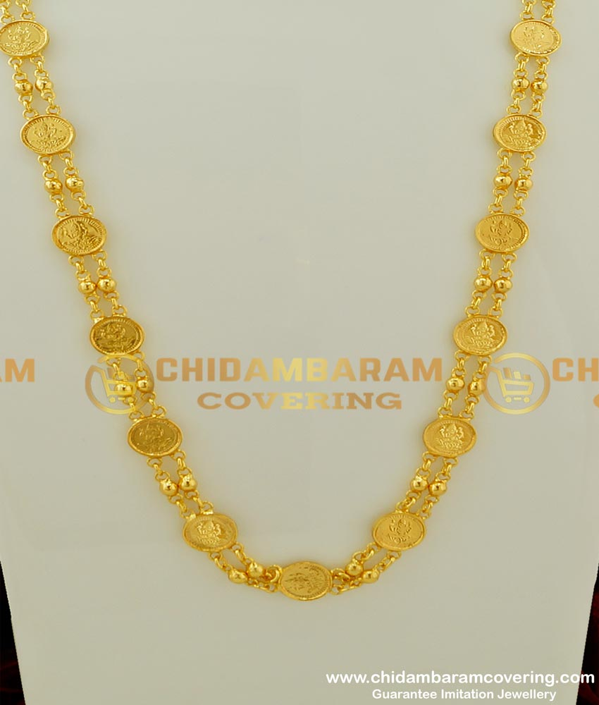 CHN075 - Traditional Gold Plated Lakshmi Kasu Mani Mala Chain Design Two Line Chain Shop Online