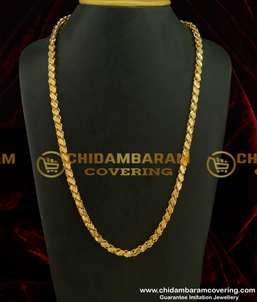 CHN083 - LG-30 Inches Long Chain Chidambaram Covering Gold Plated Grand Look Designer Cut Sundari Chain Design Online