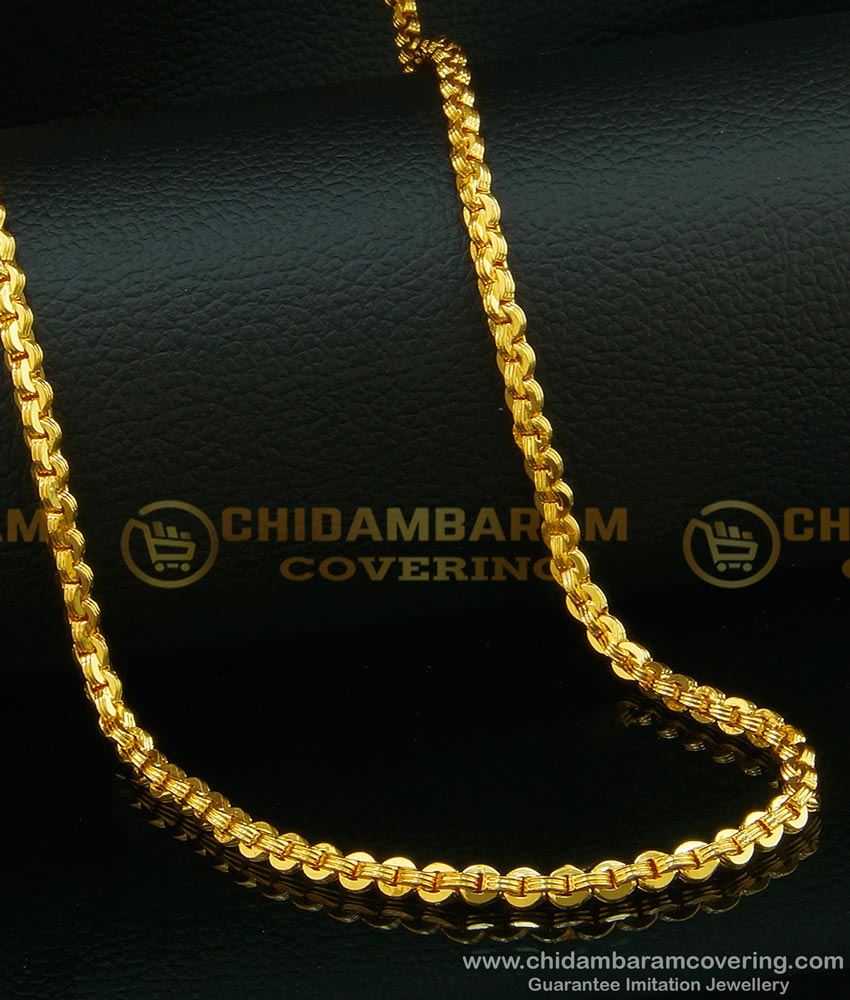 CHN090 - Most Popular Gold Chain Design Chidambaram Covering Gold Plated Flexible Chain