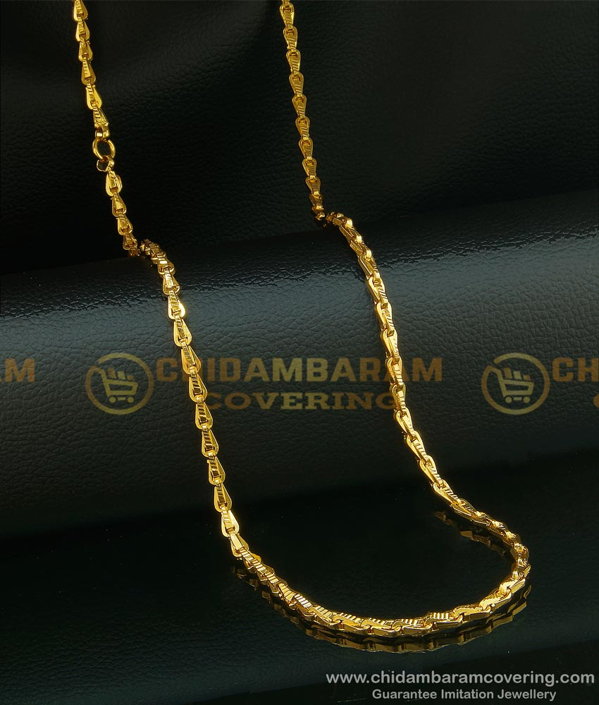 CHN091 - Trendy Wheat Model Gold Chain Design Daily Wear One Gram Gold Plated with Guarantee Chain Online