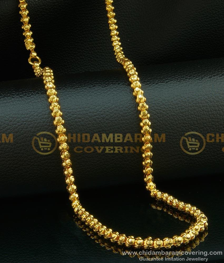 CHN096 - One Gram Gold Long Chain Thick Designer Wedding Gold Chain Design Buy Online