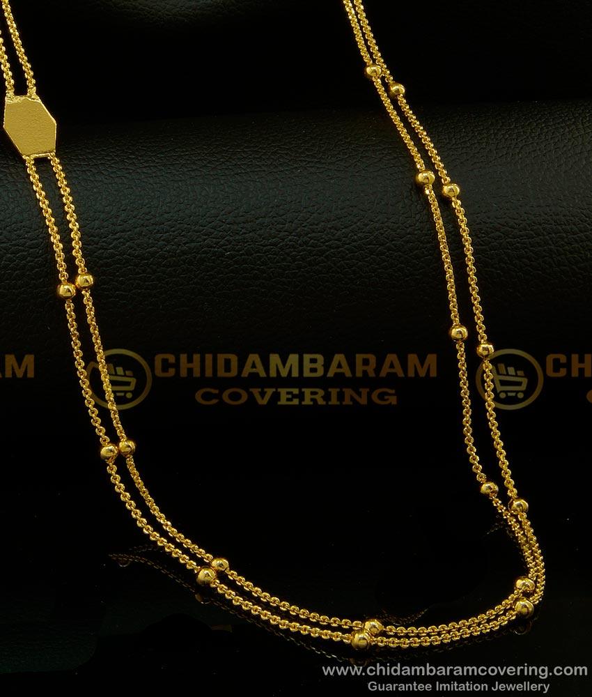 CHN150 - Rettai Vadam Light Weight Balls Chain Design Two Line Chain Shop Online