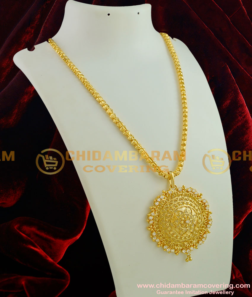 DCHN003 - Traditional Box Kumil Chain With Handmade Coimbatore AD Stone Big Dollar