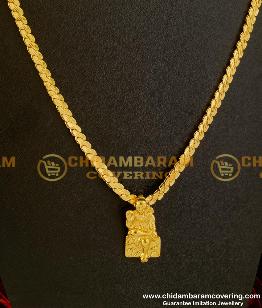 DCHN008 – Yellow Gold Plated Shirdi Sai Baba Pendant With Flat Chain Design for Women