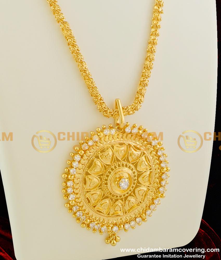 DCHN009 - Gold Plated Jasmine Chain with Handmade Coimbatore White Stone Big Dollar