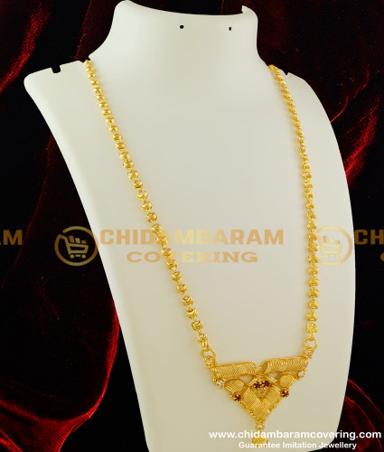 DCHN010 – Classic Scroll Dollar with Multi Stone and Chain for Regular Use