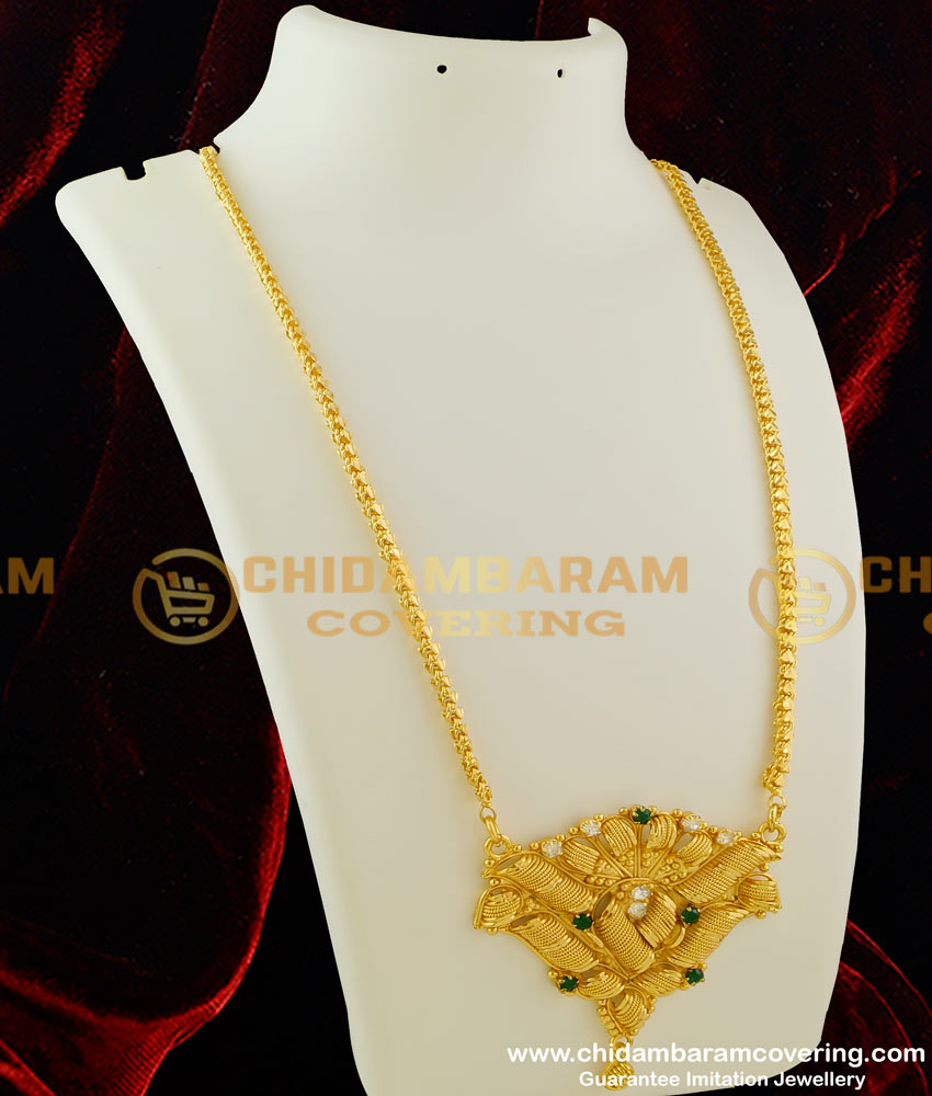 DCHN011 – Traditional Big Scroll Dollar with Multi Stone and Chain for Regular Use