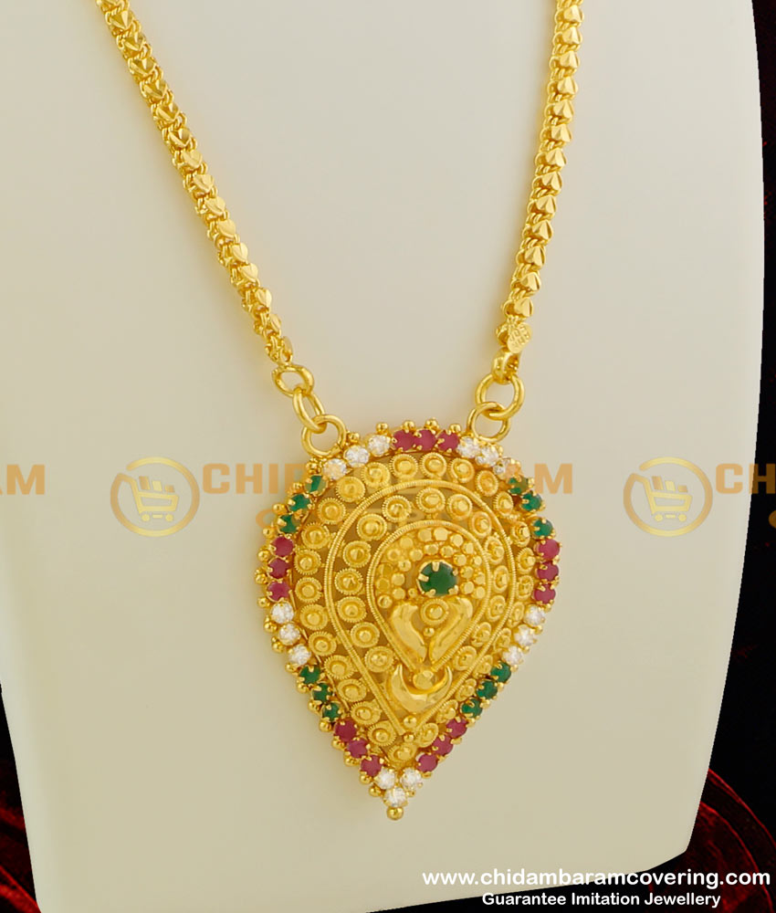 DCHN013 – Gold Plated Beautiful Unbloomed Flower Shaped Dollar with Multi Stone and Heartin Chain