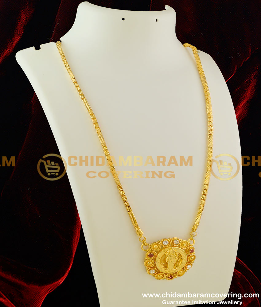 DCHN015 – Traditional Lakshmi Dollar Surrounded by White and Ruby Stone with Box Chain