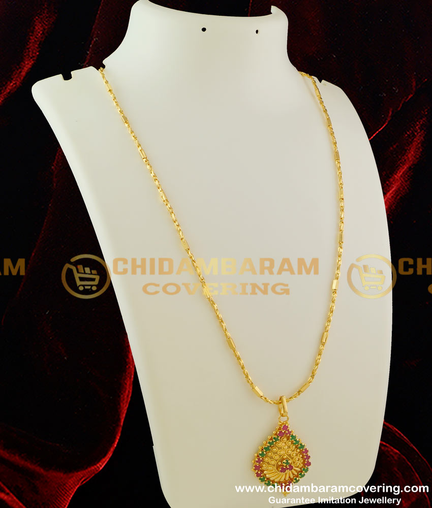 DCHN018 – Attractive Petal Shaped Dollar with Ruby and Emerald Stone and Kerala Chain