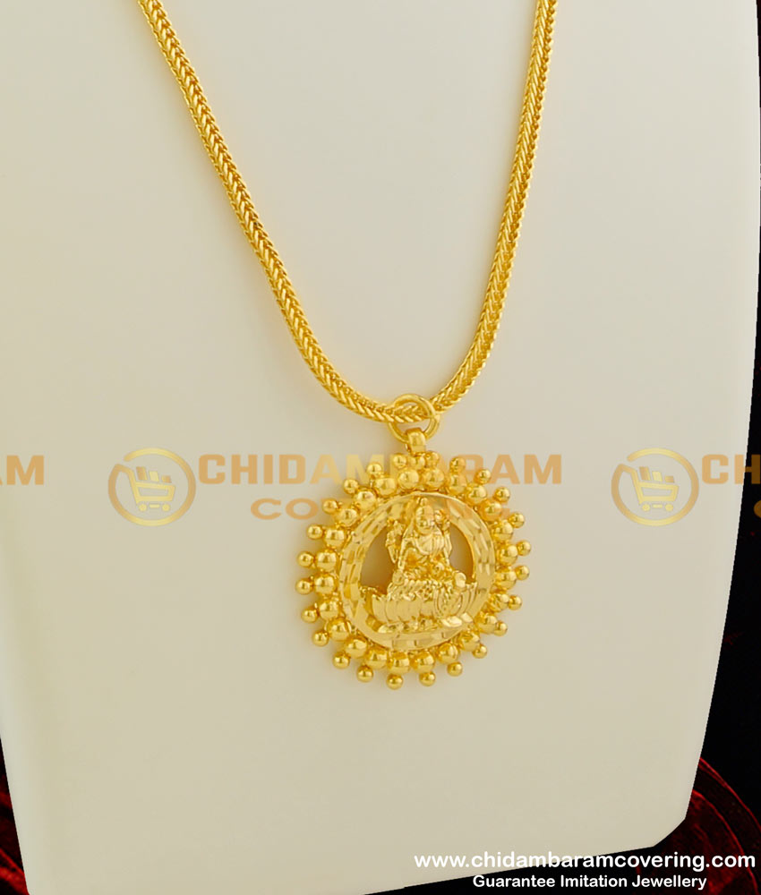 DCHN023 – Traditional Round Pendant with Lakshmi in the Middle and with Knitting Chain