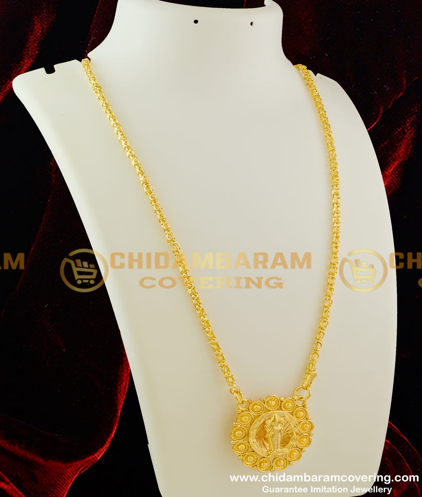 DCHN024 – Classic Round Pendant with Lakshmi in the Middle and with Box Chain