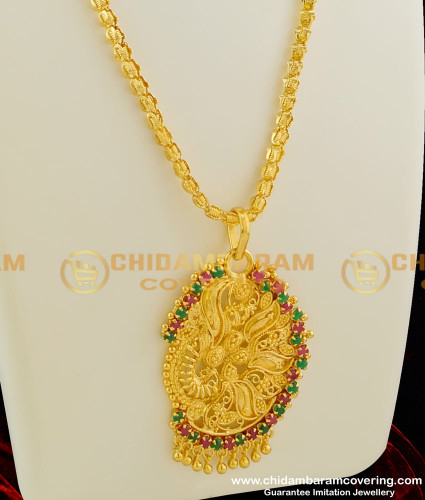 DCHN026 – Attractive Fancy Ruby and Emerald Stone Pendant with Hanging Golden Beads and Beautiful Chain