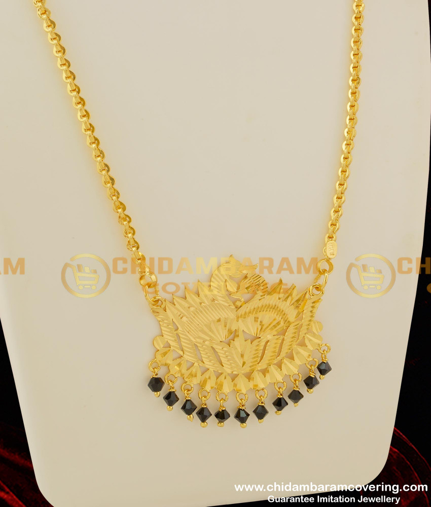 DCHN028 - Double Swan Hanging Black Crystal Big Pendant with Chain Online