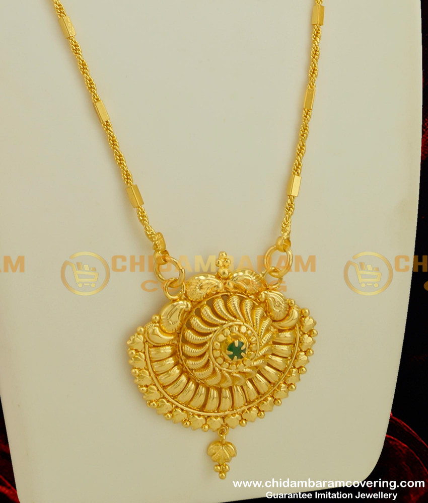 DCHN034 - Latest Design Single Emerald Stone Pendant With Kerala Chain