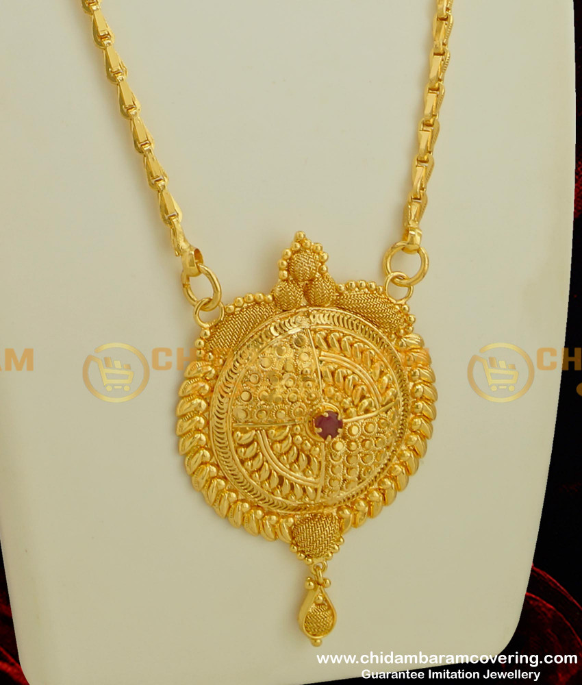 DCHN035 - Beautiful Single Stone Big Round Pendant with Chain Online