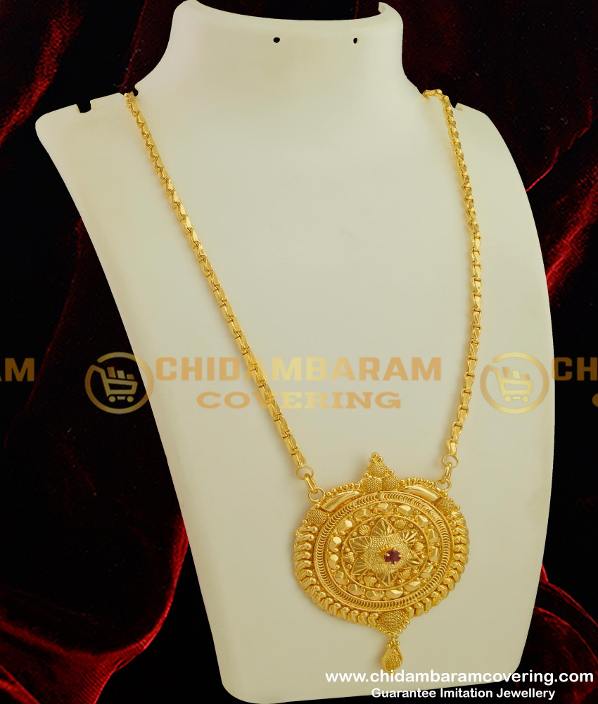 DCHN036 - Ruby Stone Beautiful Round Pendant with Ramba Chain Online