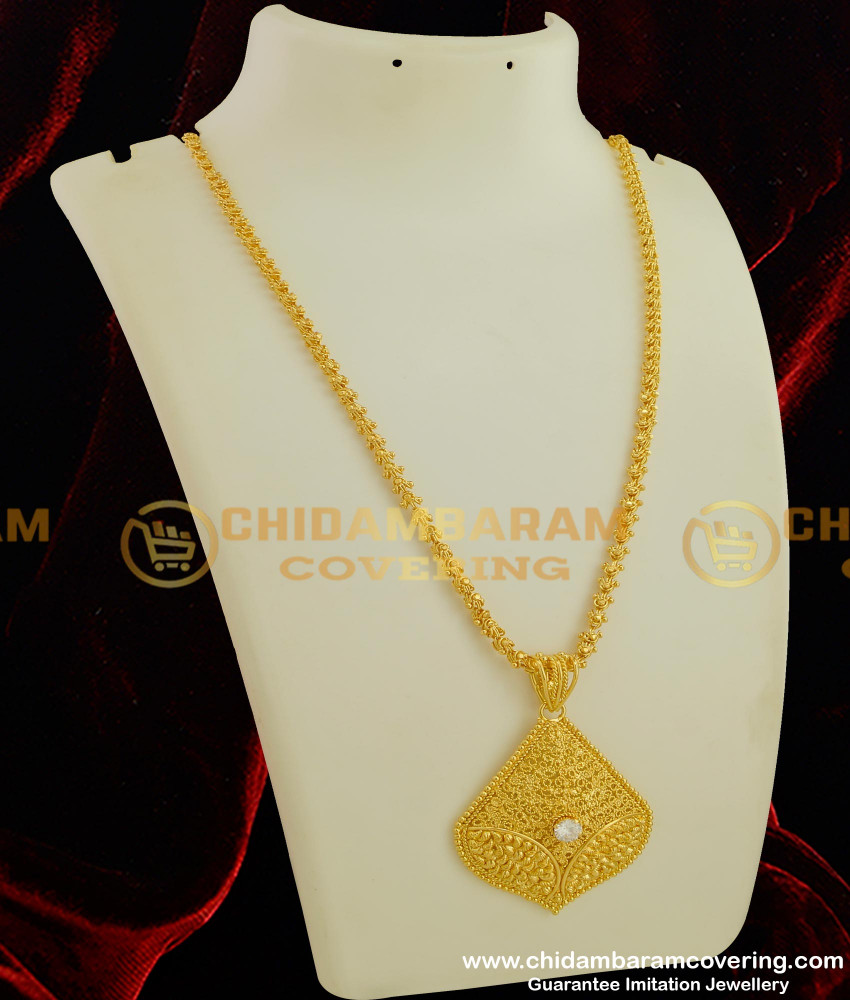 DCHN039 - Gold Style Heavy American Diamond Pendant with Jasmine Chain Online