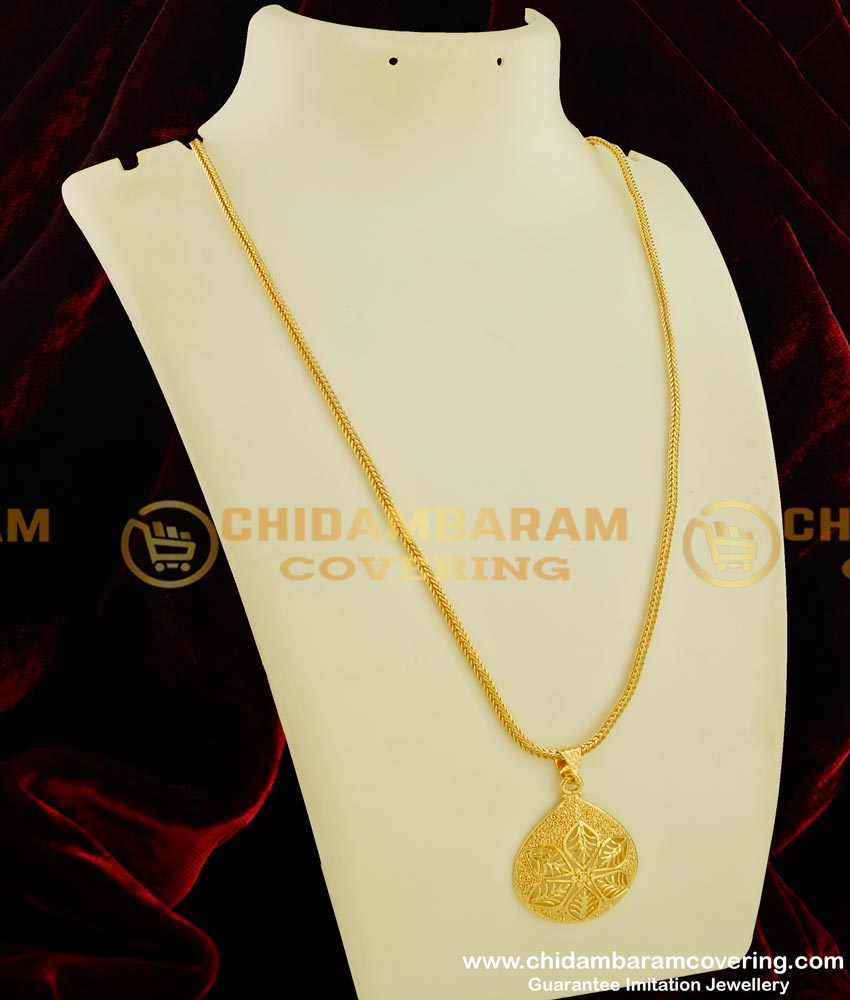 DCHN044 - Latest Light Weight Gold Design Pendant with Chain Buy Online
