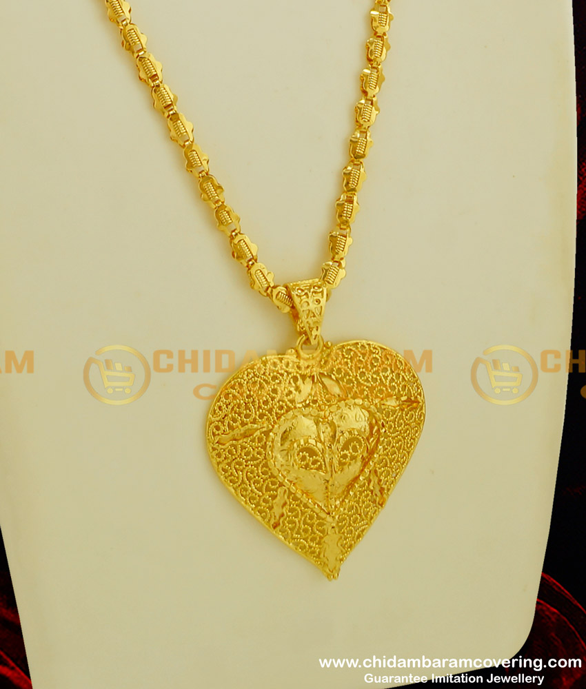 DCHN052 - New Design Heart Shape Gold Plated Pendant with Long Chain for Women