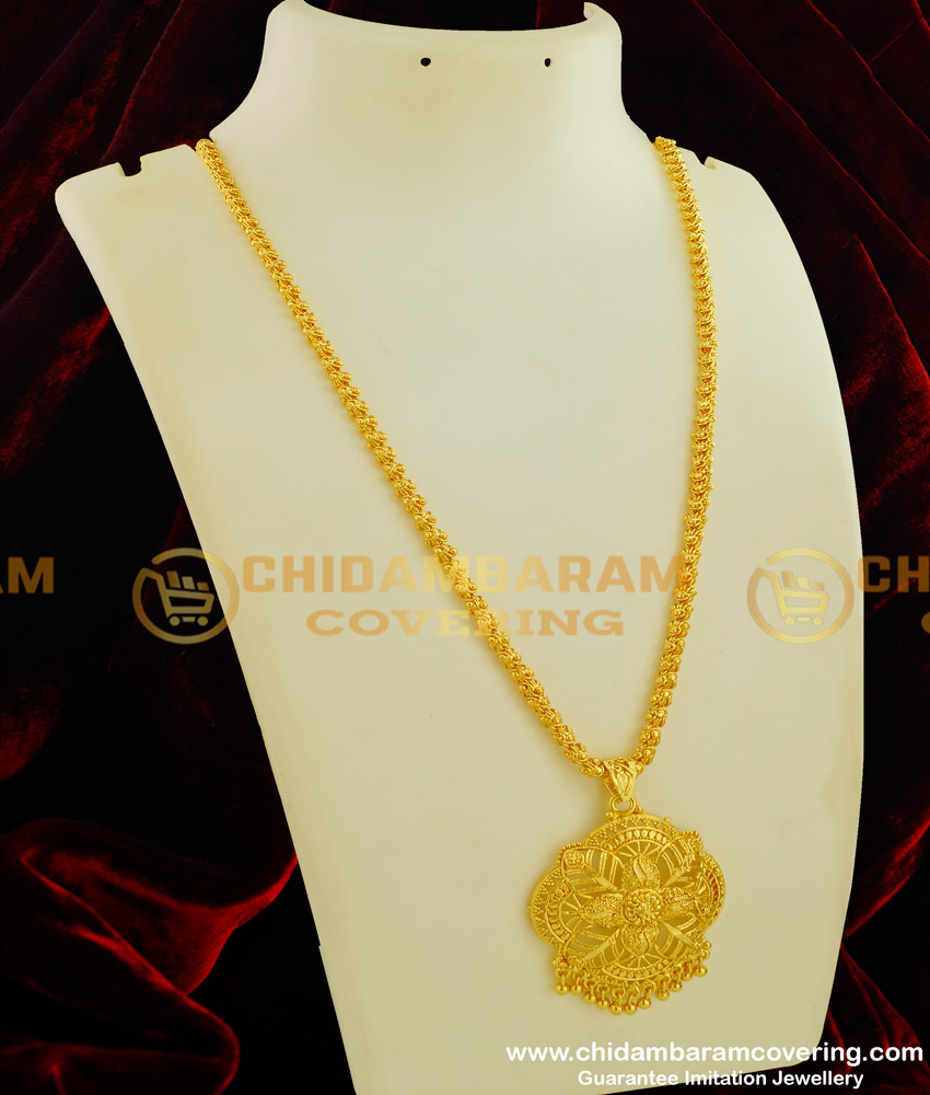 DCHN053 - Latest Gold Plated Flower Design Pendant With Long Jasmine Chain Buy Online