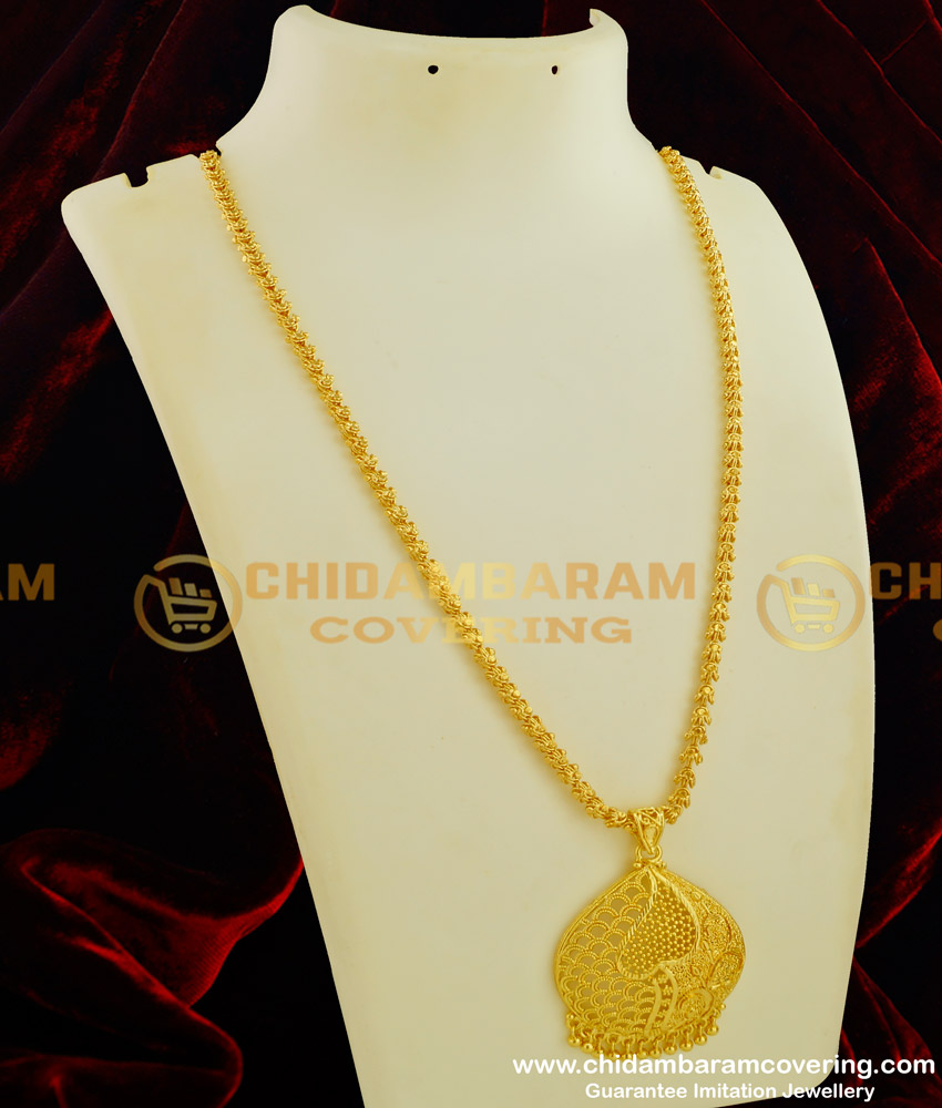DCHN054 - New Collection Gold Pendant Design with Long Jasmine Chain Buy Online