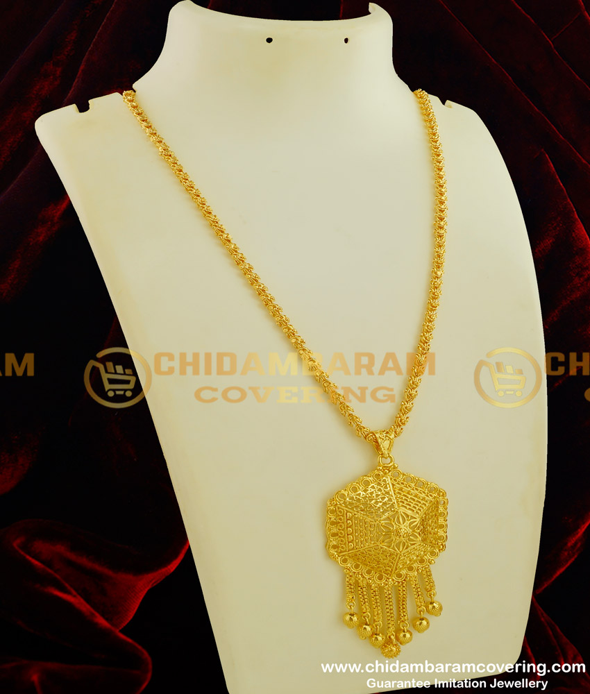 DCHN055 - New Arrival One Gram Gold Designer Big Dollar with Chain Buy Online Shopping