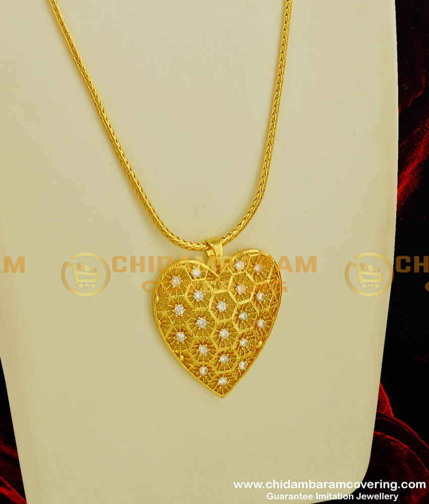 DCHN057 - Latest One Gram Gold CZ Stone Heart Shape Pendant with Chain for Girls