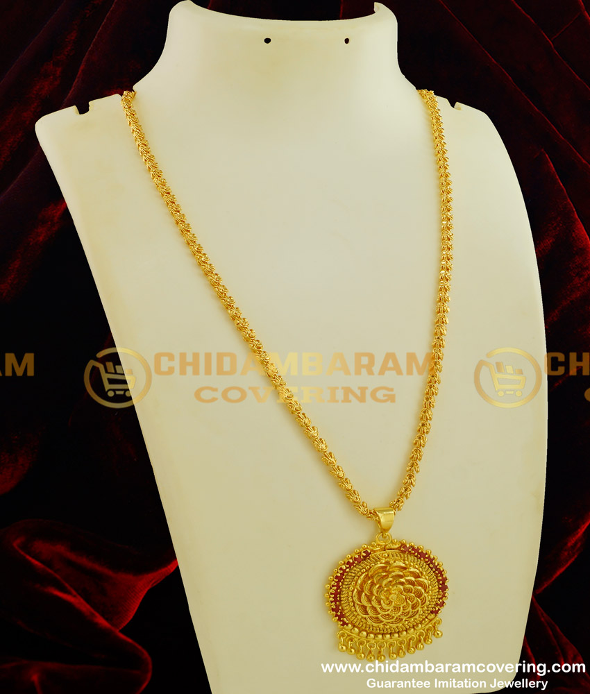 DCHN062 - Trendy One Gram Gold Ruby Stone Floral Design Pendant with Chain Online