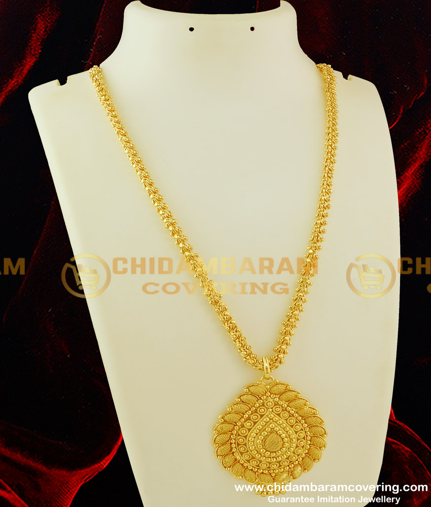 DCHN065 - Trendy Petal Shaped Big Pendant with Hanging Beads And Beautiful Chain Online