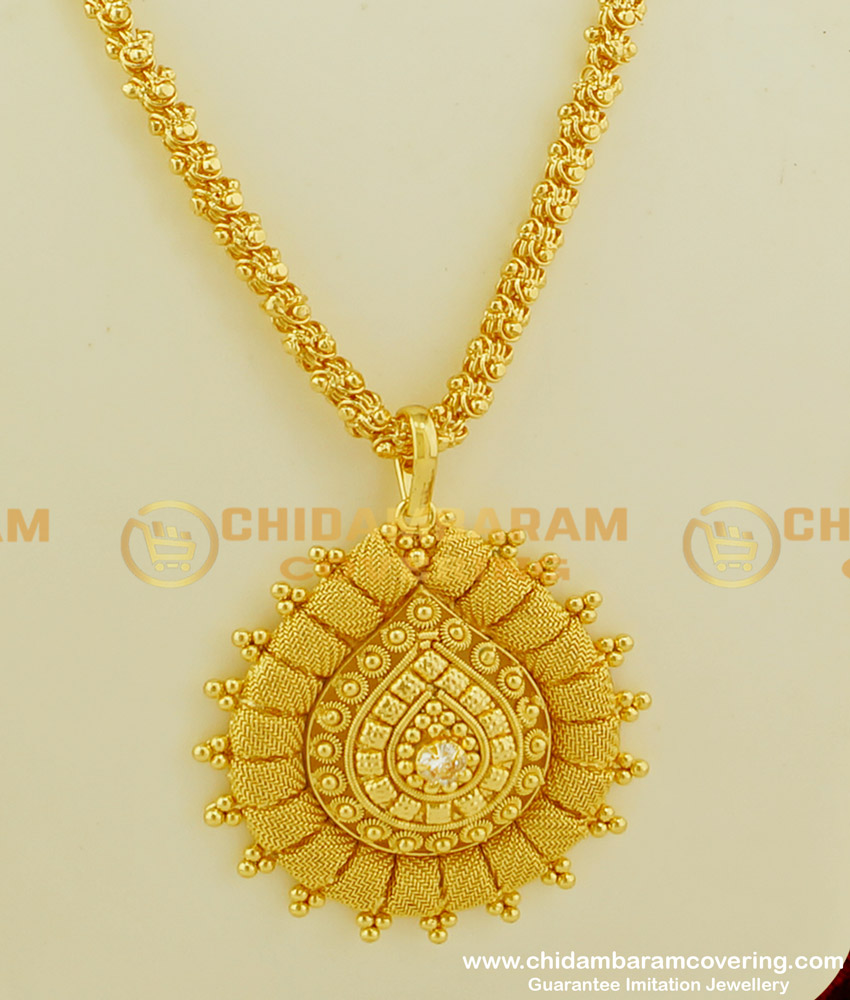 DCHN066 - One Gram Gold Traditional Handmade White Stone Big Dollar with Chain Online