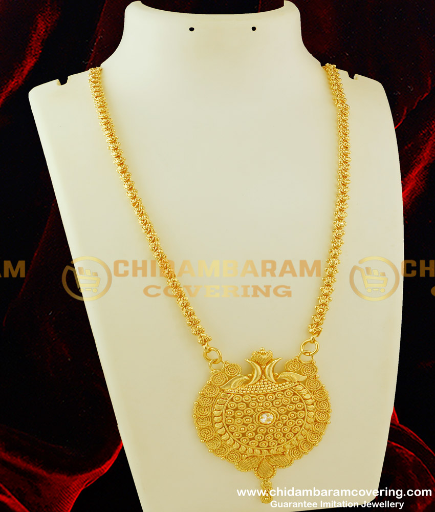 DCHN068 - Gold Plated Jasmine Chain with Handmade Single white Stone Big Dollar Buy Online