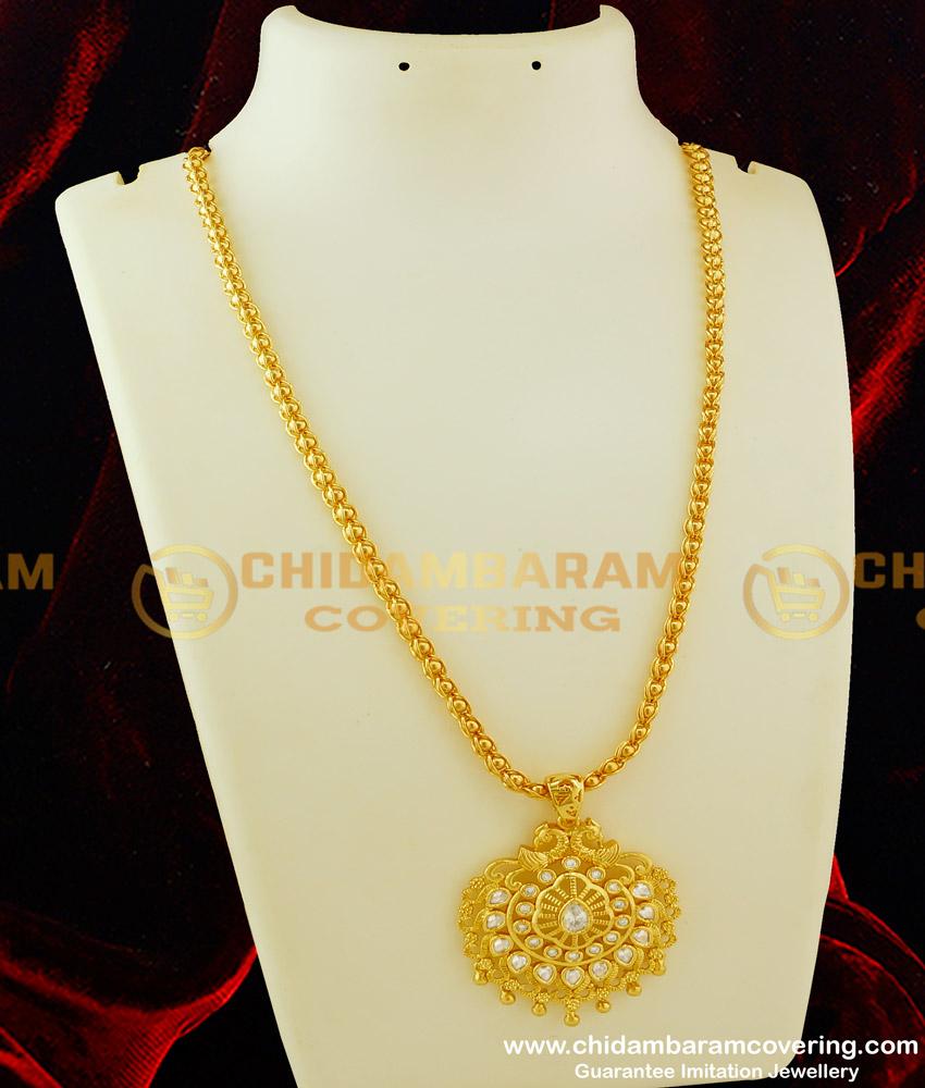 DCHN070 - Latest Peacock Design Uncut Diamond Pendant with Long Chain for Women