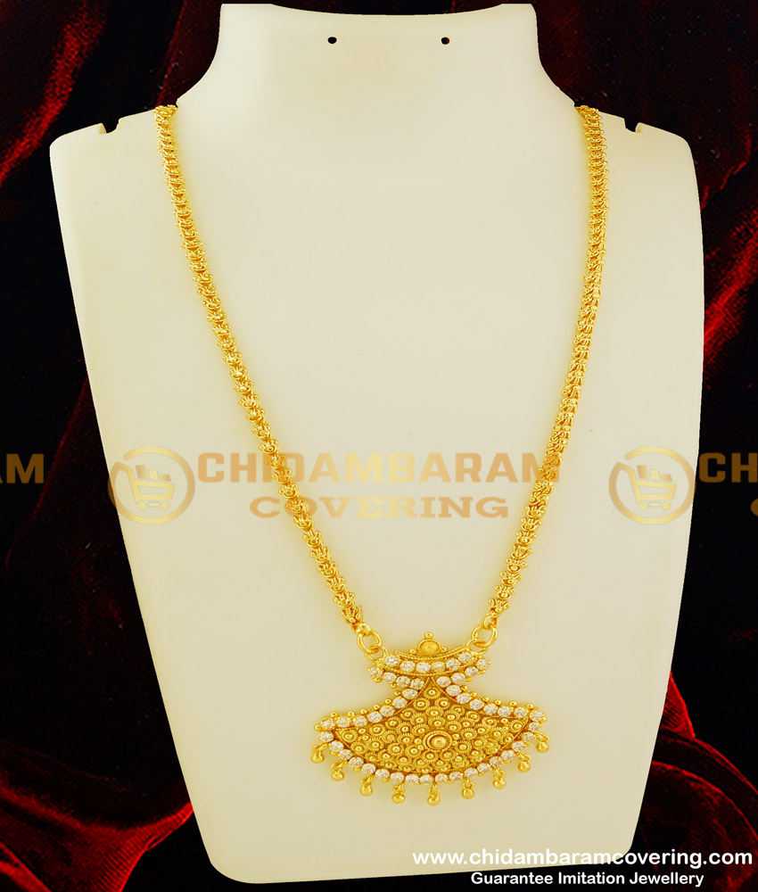 DCHN072 - Latest Full AD Stone Pendant with Jasmine Chain One Gram Gold Plated Jewellery Online