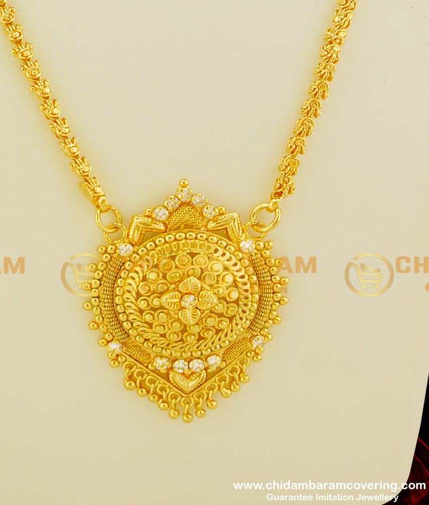 DCHN073 - Trendy Gold Look Flower Design Single Stone Pendant with Chain Buy Online