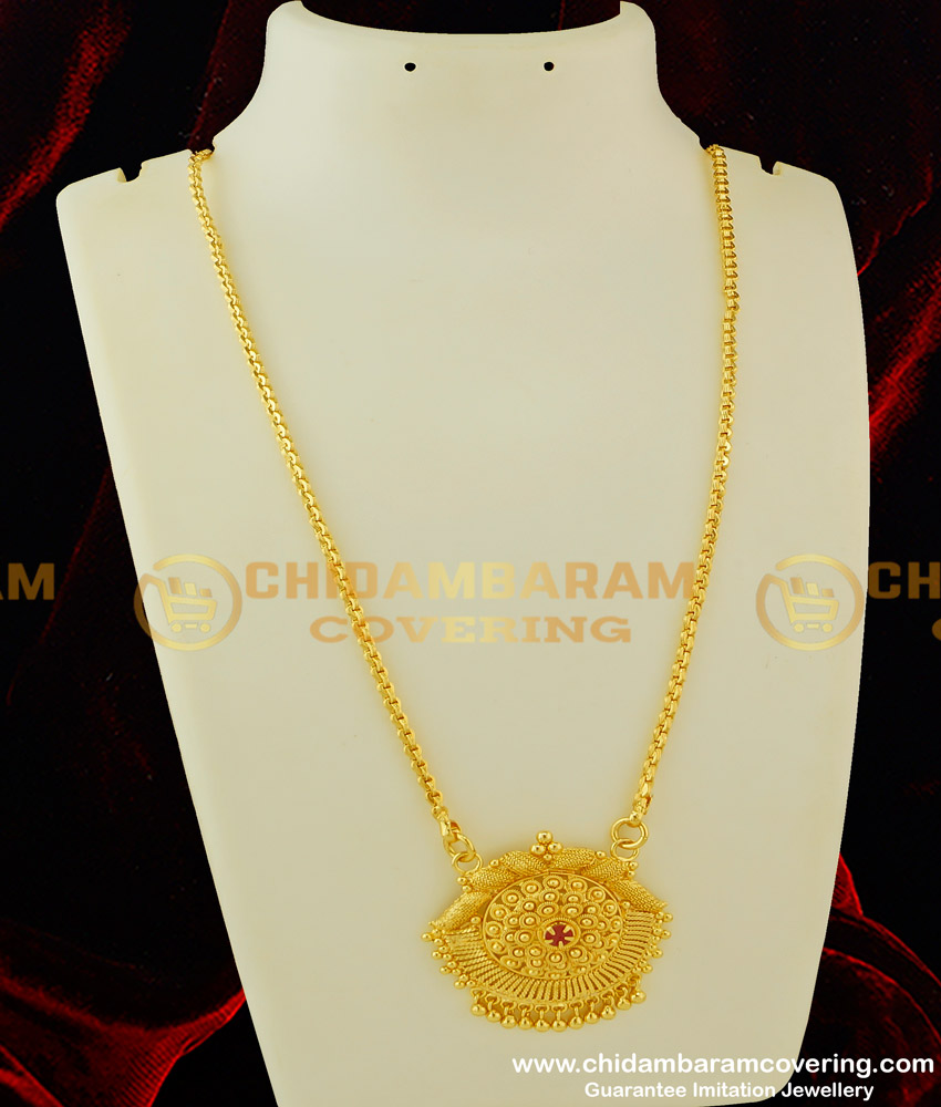 DCHN076 - Beautiful Ruby Stone Pendant with Chain 1 Gram Gold Dollar Chain Collection Online