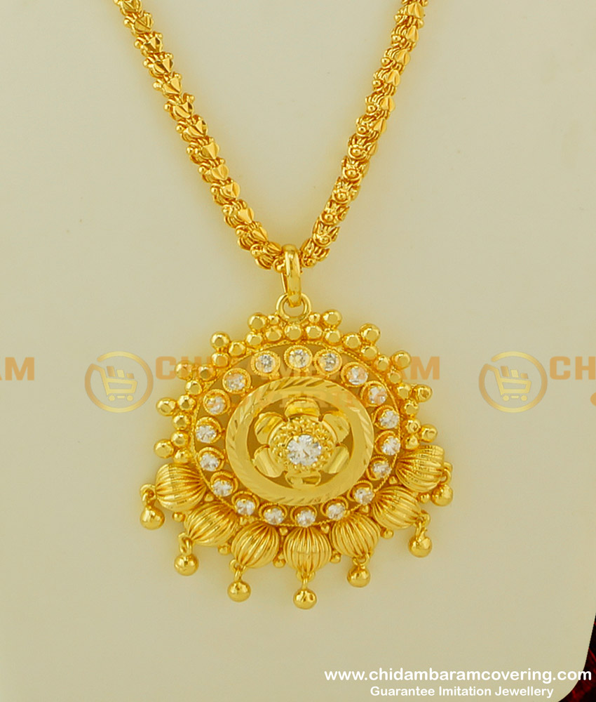 DCHN079 - New Arrival Gold Look White AD Stone Pendant with Chain Design Buy Online