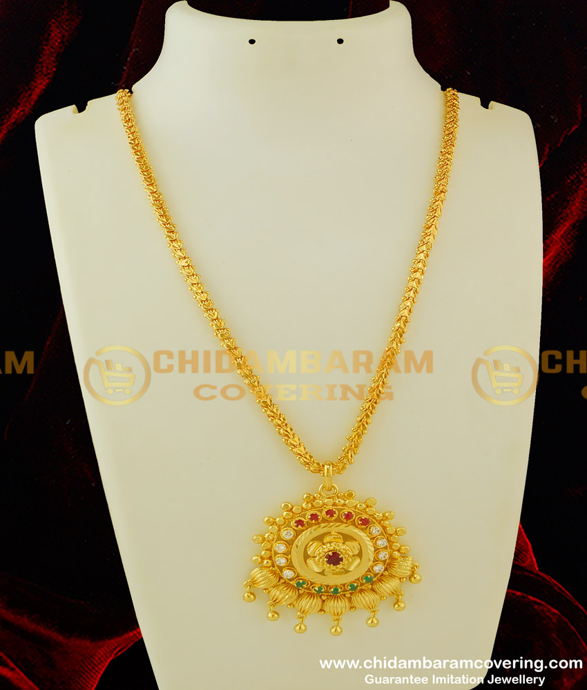 DCHN080 - New Arrival Gold Look Multi Stone Pendant with Chain Design Buy Online