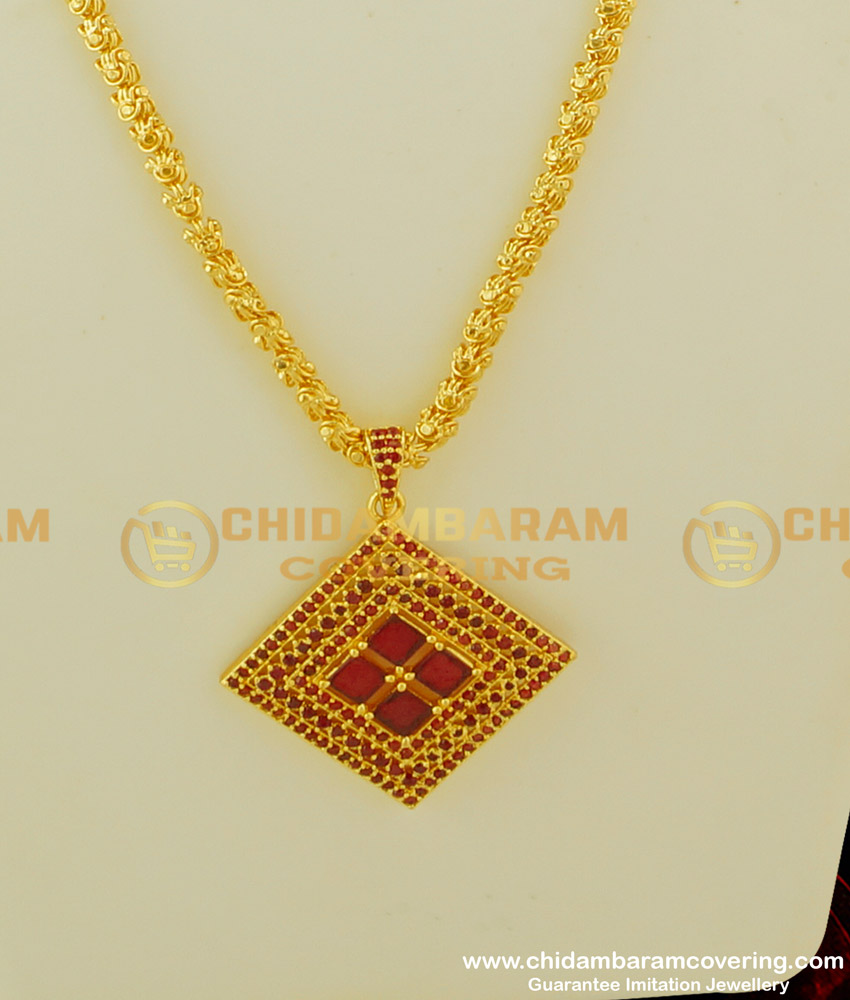DCHN083 - Attractive Pendant High Quality CZ Ruby Stone Pendant With Long Chain for Girls