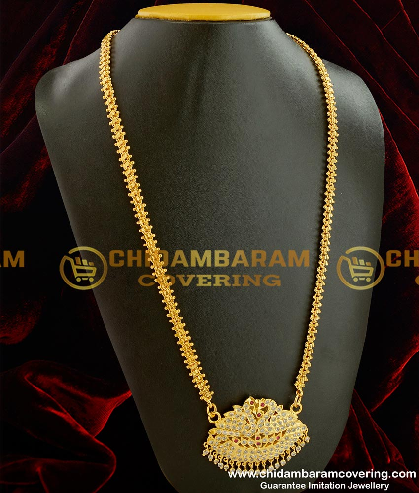 DLR001 - Double Swan Pendant with Stone Drops Design Panchaloha Haram for Indian Wedding