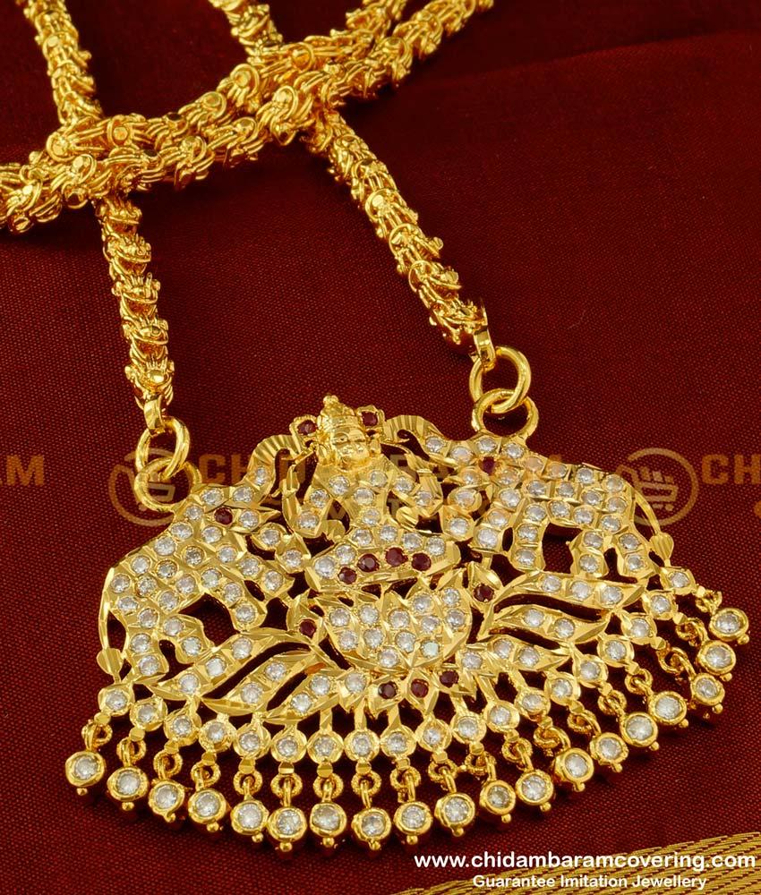 DLR012 - Thick Metal Copper Gold Colour Stone Gajalakshmi Pendant with Chain Design Online